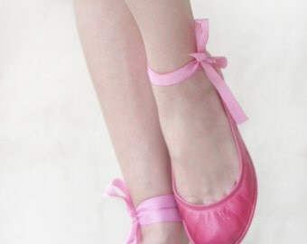 Pink Hip - Handmade Leather ballet flats - CUSTOM FIT