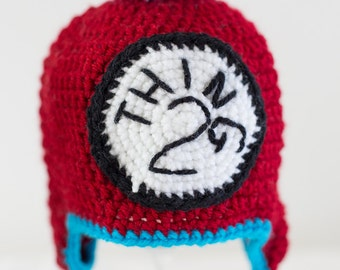Ready to Ship * Crochet * TODDLER * Thing 2 Hat * Deep Red with Aqua Blue Accents * Boy Girl Neutral * Pom Hat * Dr Seuss Hat
