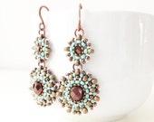 CUSTOM ORDER for STACEY - Handmade czech crystal and japanese seed bead earrings in turquoise, golden bronze, dark bronze and silver