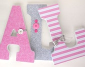 Baby Girl Wooden Letters for Nursery - Pink and Light Gray - Custom Letter Set