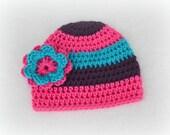 READY TO SHIP - Crochet Baby Striped Flower Beanie - Newborn to 3 months - Watermelon, Blue Mint, Plum Perfect
