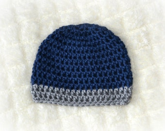 Crochet Baby Boy Beanie - Newborn to Adult - Dark Country Blue and Heather Grey  - MADE TO ORDER