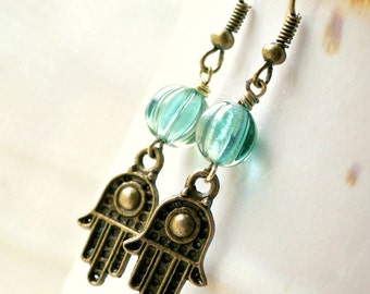 SALE hamsa brass french hook beaded drop earrings yoga jewelry