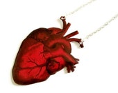 Large Anatomical Heart Necklace Red Vintage Victorian Anatomy Illustration Statement Jewelry Anatomically Correct Valentines Day