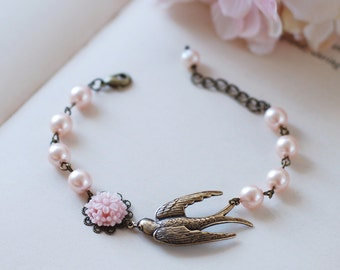 Brass Swallow Bird Bracelet. Pink Swarovski Pearls Brass Sparrow Bird Bracelet,  Wedding Bracelet, Bridal Jewelry, Gift for Her