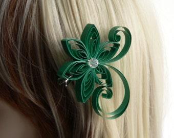 Emerald Wedding Hair Clip, Emerald Green Wedding Hair Accessory, Shamrock, Irish Wedding
