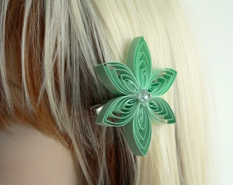 Mint Green Hair Accessory for Formal, Mint Prom, Quinceanera, Single Layer Flower