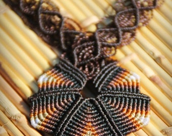 Chocolate BROWN fiber necklace CRISS-CROSS, adjustable length cavandoli macrame necklace