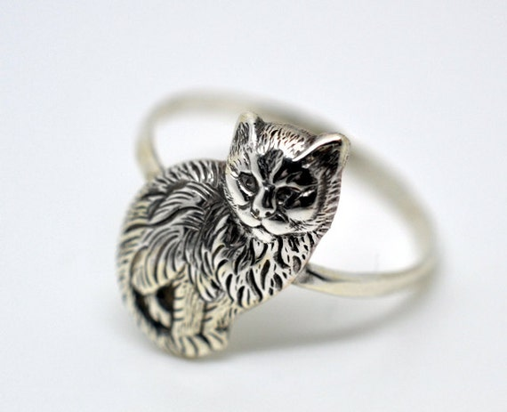 cat ring handmade silver ring handforged rings for