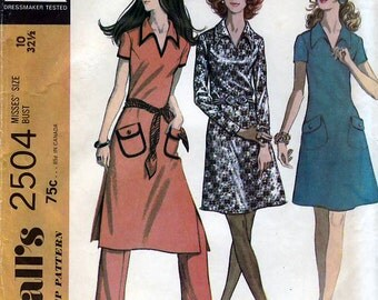 McCall's 2504 Vintage 70s Misses' Dress and Pants Sewing Pattern - Uncut - Size 10 - Bust 32.5