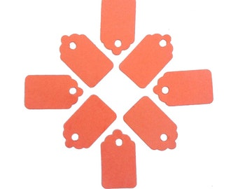 "50 Salmon Pink Orange Paper Gift Tags 15/16"" x 1/2"" 65lb Repurposed Cardstock Paper"