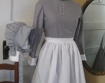 Custom Made - Colonial, Prairie, Pioneer,  Trek,  Dress, Bonnet, Apron & Mob Cap