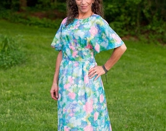 watercolor florals on moonbeam blue - vintage wing sleeved maxi dress