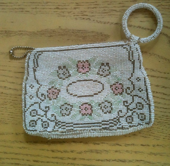 Vintage 1930s Purse / 30s Czech White Micro Beaded Floral Evening Bag