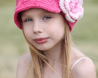 Girl Flower Newsgirl Newsboy Crocheted Girl Hat in Hot Rose, Soft Pink, Pink, and Linen. baby toddler child tween teen adult made to order