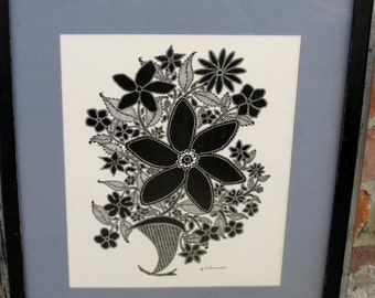 1969 Black and White Floral Art Design by Besterman
