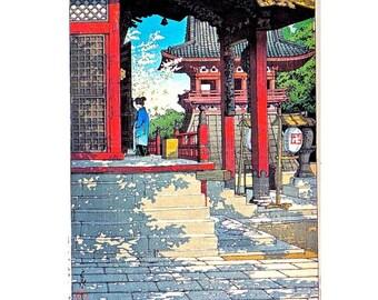 "MEGURO FUDO TEMPLE handcut wooden jigsaw puzzle, 9"" x 13.75"", 200-250 pieces"