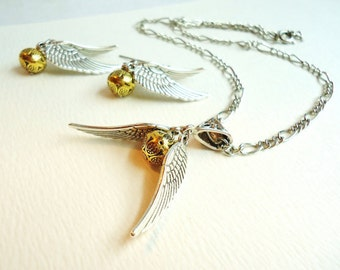 Golden Orb & Silver Wings Necklace and Earrings Set, Nerdy Gifts