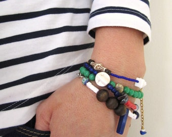 Mixed media bracelet, stacking bracelet, vintage bead bracelet, repurposed bead bracelet, handmade bracelet, blue, pink, white by nicobel