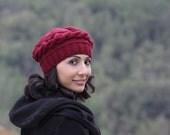 Burgundy knit hat, Burgundy hat, Burgundy winter beret women, Burgundy hat, Hand knit beret, Burgundy wool hat, Burgundy womens hat,