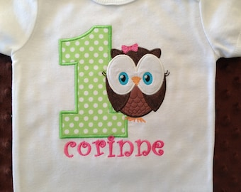 Owl First Birthday Shirt or Bodysuit Girls Personalized-- Owl Themed Birthday Party--Owl Shirt--Pink and Green Owl Birthday Shirt