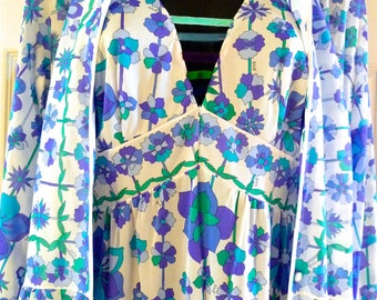 Emilio PUCCI Robe Nightgown Authentic Designer Slip Dress 2 Piece Small Like NEW Blue Green Purple Fabric Mod Pattern