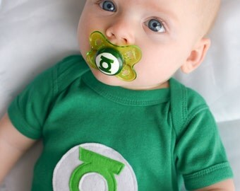 Baby Green Lantern Custom Hand Painted Pacifier by PiquantDesigns