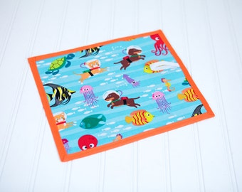 Sea Animal Fish Chalkboard Mat Reusable Art Toy Travel Quiet Toy Boy or Girl