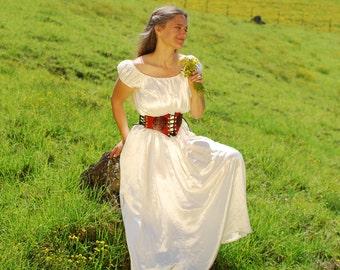 Boho Wedding Dress - Peasant Dress - Eco - Friendly Hemp Silk Charmeuse - Natural Creme Color