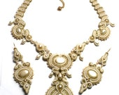 antique gold ivory and pearl-  soutache wedding set necklace & earrings  free shipping - bridal