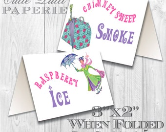 Mary Poppins Vintage Party Printable Tent Signs by Cutie Putti Paperie