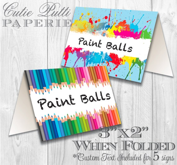 Art Party, Rainbow Party -  PRINTABLE TENT SIGNS - Cutie Putti Paperie