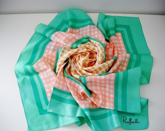 Vintage Raffalello Mint and Pink Check Scarf