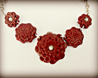 "Plum Flower Necklace - Plum colored fimo zinnia 16"" silver necklace with Rhinestone accent - The Secret Garden Collection"