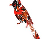 Cardinal Painting, Modern Cardinal Poster - Pop Art Bird Poster, bird painting, pop art painting of bird, Large Canvas Ready to Hang
