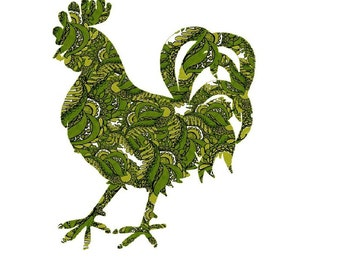 Rooster Painting, Modern Rooster Poster, farm animal, kitchen wall art, green and gold, modern rooster, dining room art, modern kitchen