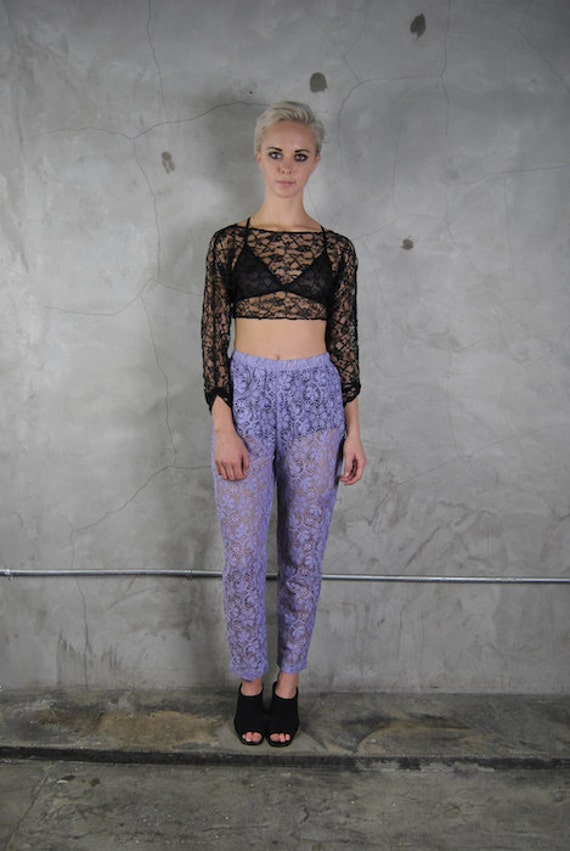 vintage pants 1990's lilac purple sheer lace by ...