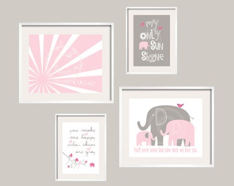 You Are My Sunshine Elephant Art Print Set in Pink and Gray UNFRAMED Print Set for boy or girl  Custom Colors available