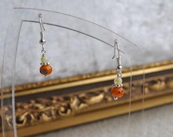 Elegant antique orange glass bead dangle hand made earrings