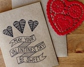 Valentine Card Set of 10 - May Your Valentine's Day Be Sweet Hand Lettered Cards and Envelopes