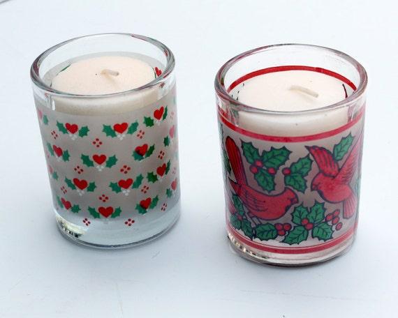Christmas votive candle holders vintage set of by for Christmas pillar candle holders