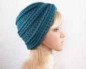 Hand crocheted hat beanie - antique teal - accessories Winter Fashion by Sandy Coastal Designs