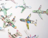 100 Mini Airplanes Map Atlas Confetti, Bridal Shower Decorations, Wedding Party Supplies - No191