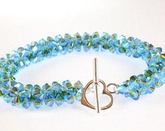 Swarovski Crystal Woven Bracelet, Turquoise and Fern Green Kismet
