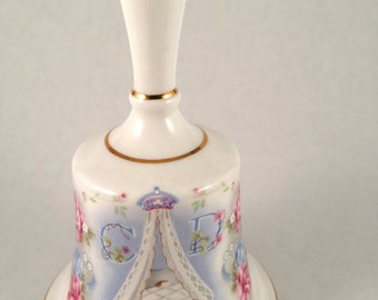 Camelot Princess Diana & Prince Charles Royal Birth Bell - Prince William -  made in england - pink - blue - bone china - birthday