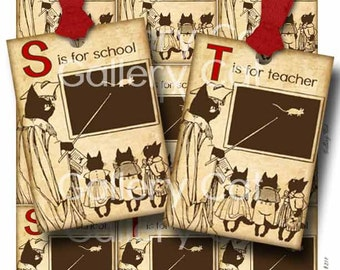 Teacher Tags Digital Collage Sheet SCHOOL CATS Charming Instant Download for Scrapbook Classroom Projects Gift Tags Cards GalleryCat CS214