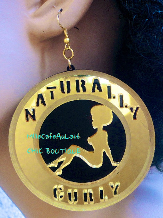 LAST One Mirror Laser Cut  Acrylic Afro Pinup Girl Earrings - NATURALLY CURLY