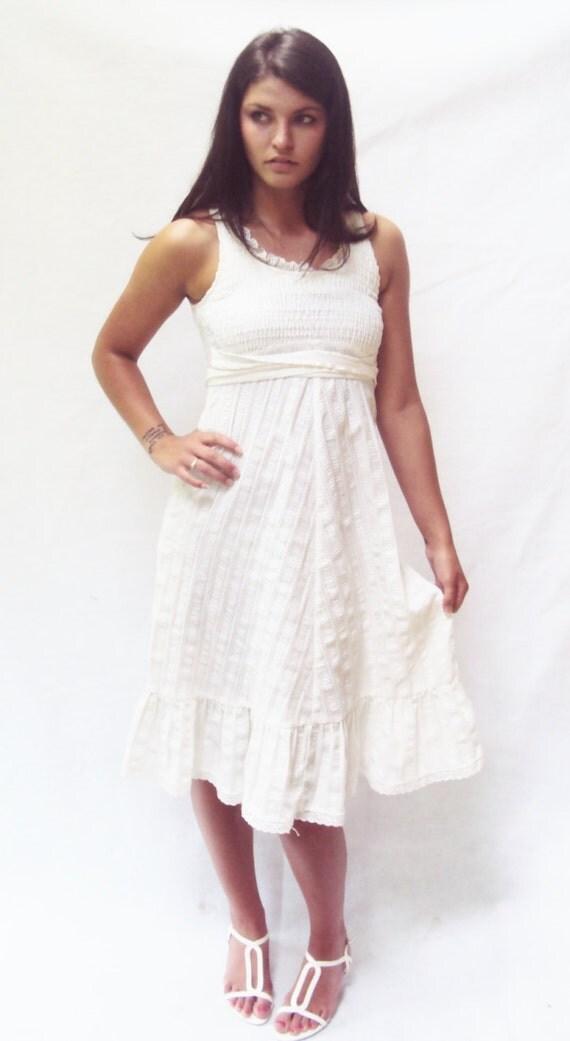 70s White Sundress Vintage Cotton Midi Dress S by ...