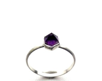 Amethyst Ring natural Crystal Point  Bezel set in  Recycled Silver Stack Stackable Ring