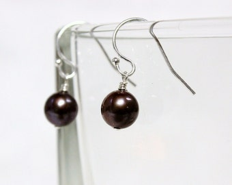 Simple, Delicate, Chocolate Pearls Dangling from Sterling Silver French Hook Earrings
